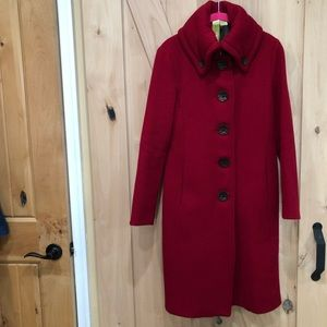 SOIA & KYO Long Coat Size Small Wool Blend Red